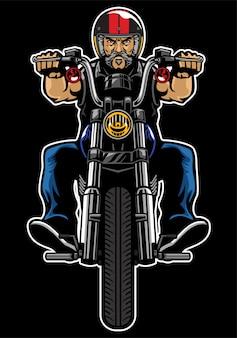 Hombre, equitación, motocicleta