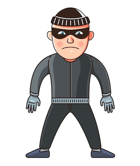 Un hombre es un ladrón en pleno crecimiento. ilustración de personaje