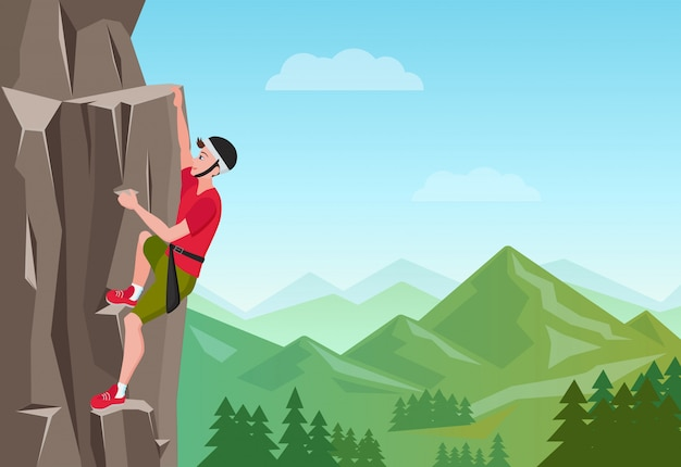 Hombre de escalada en roca.