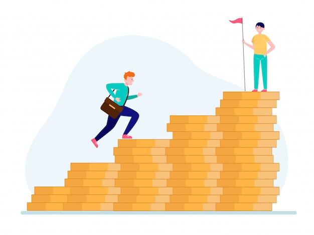 Hombre escalando en gráfico de barras de dinero