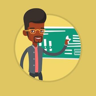 Hombre escribiendo en una ilustración de vector de pizarra.