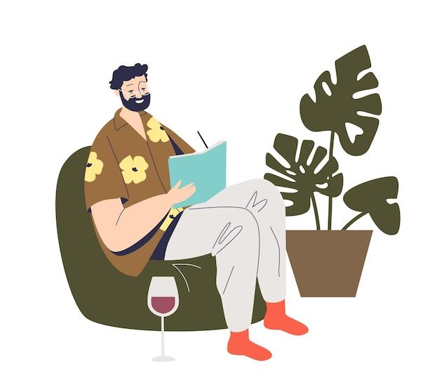 Hombre escritor moderno sentado en un sillón y creando una historia