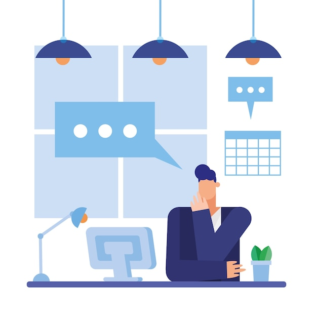 Hombre en el escritorio con computadora y burbuja en el diseño de la oficina, fuerza laboral de objetos de negocio y tema corporativo
