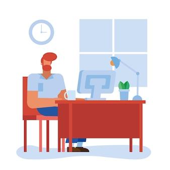 Hombre en el escritorio con la computadora en el diseño de la oficina, la fuerza laboral de los objetos comerciales y el tema corporativo