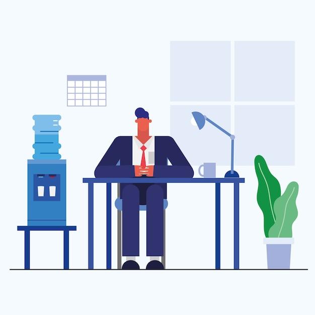 Hombre en el escritorio con el diseño de la oficina, la fuerza laboral de los objetos de negocio y el tema corporativo