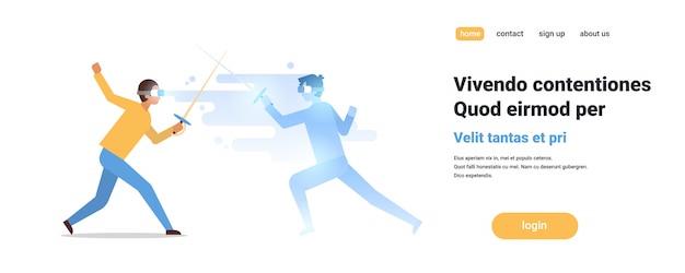 Hombre esgrimista usar gafas digitales luchando con realidad virtual oponente esgrima atleta vr visión auriculares innovación concepto aislado