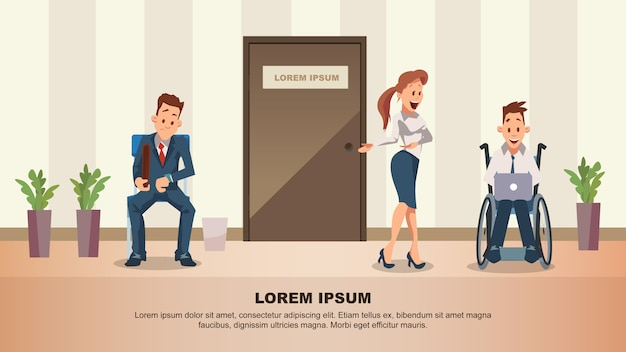 Hombre espera entrevista de trabajo en la puerta