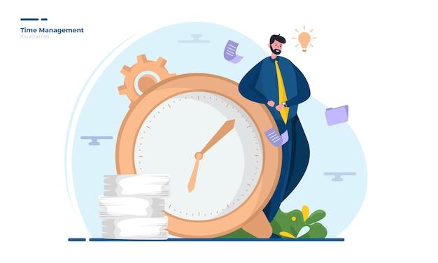 Un hombre esperando la ilustración del tiempo.
