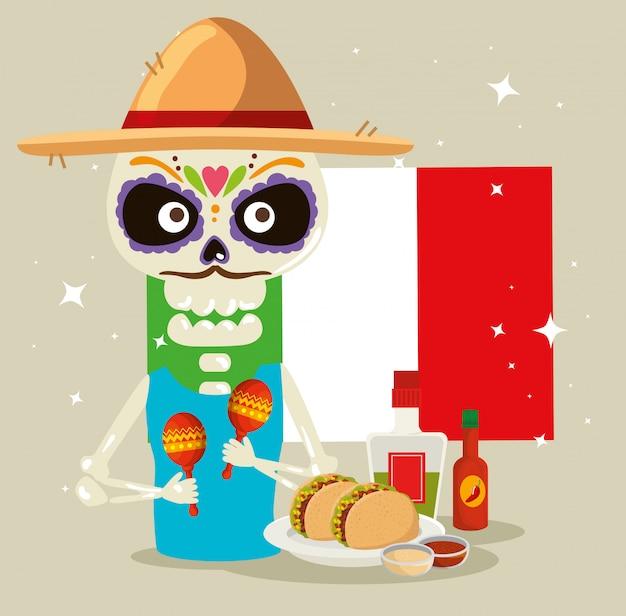 Hombre esqueleto con hombre de méxico y tacos