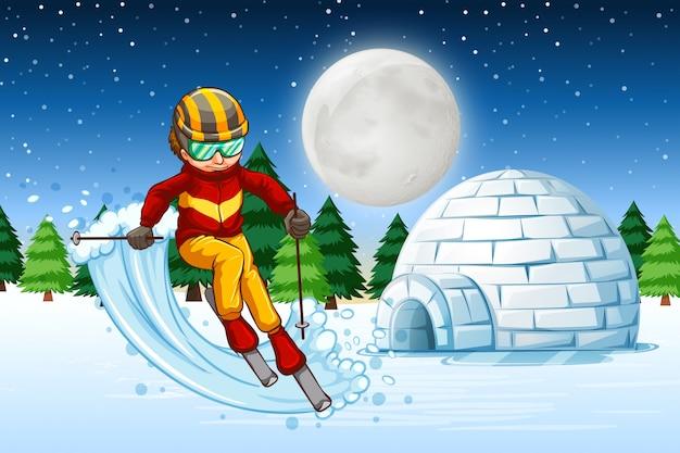 Un hombre esquia en la noche