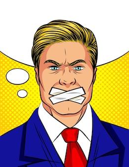 Hombre de estilo cómic pop art con la boca sellada.