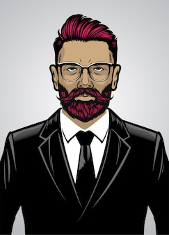 Hombre con estilo hipster barbudo con traje