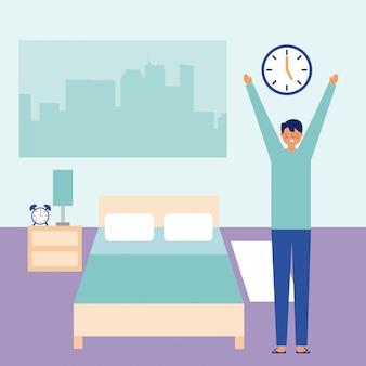 Hombre estirando despertarse en la habitación