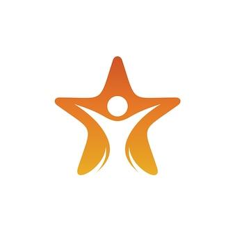 Hombre con estrella logo vector