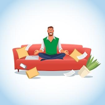 Hombre estresado en posición de loto en el sofá