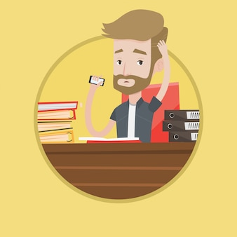 Hombre estresado que trabaja en la ilustración de vector de oficina