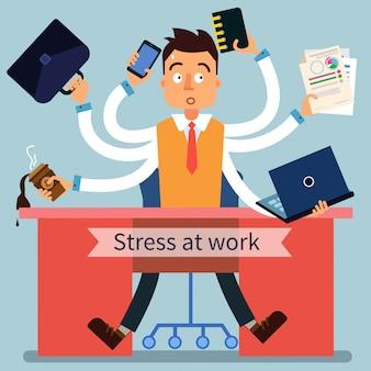 Hombre estresado en el trabajo con muchas manos
