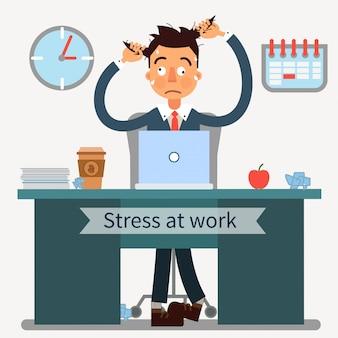 Hombre estresado en el trabajo con ordenador portátil