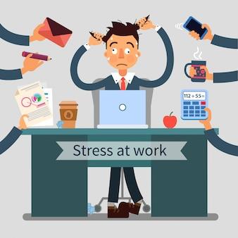 Hombre estresado en el trabajo tira de su cabello con muchas manos agregando diferentes tareas