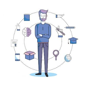 Hombre estudia con libro de educación y teléfono inteligente.