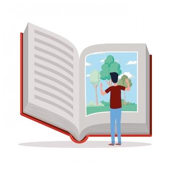 Hombre estudiante leyendo personaje de libro