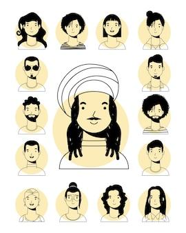 Hombre étnico afro con sombrero jamaicano y personas interraciales vector diseño de estilo de línea