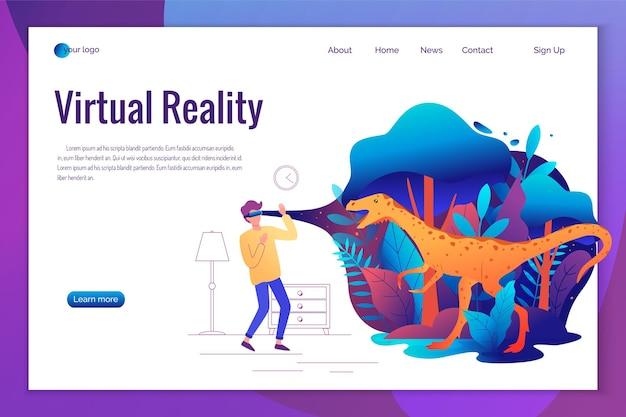 Hombre experimentando juego de realidad virtual con gafas vr