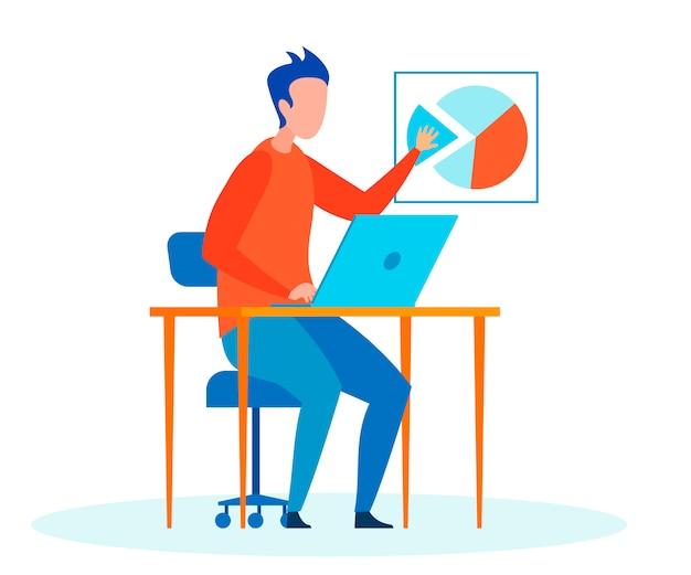 Hombre, experto haciendo informe plano vector ilustración