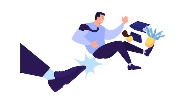 Hombre expulsado del trabajo. idea de desempleo. persona desempleada, crisis financiera. ilustración