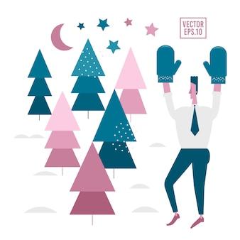 Hombre feliz y árboles de navidad.