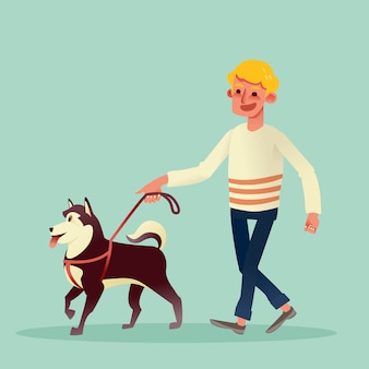 Hombre feliz caminando con su perro. ilustración de dibujos animados de vector.