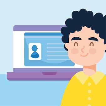 Hombre feliz y computadora portátil