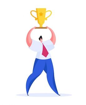 Hombre feliz con copa de oro. ilustración plana
