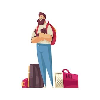 Hombre feliz de dibujos animados con mochilas y portador de mascotas de perro pequeño