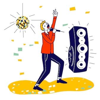 Hombre feliz divirtiéndose cantando en karaoke bar o night club. ilustración plana de dibujos animados