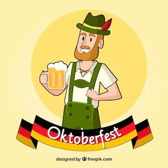 Hombre feliz con jarra de cerveza en el oktoberfest
