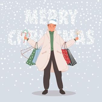 Hombre feliz con regalos de navidad hombre vestido con gorro de papá noel sobre fondo de nieve feliz navidad concepto