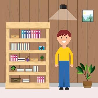 Hombre feliz sala de libros estantería planta de cámara y lámpara de techo ilustración
