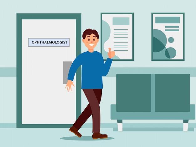 Hombre feliz saliendo de la oficina del oftalmólogo y mostrando el pulgar. concepto de salud. diseño plano