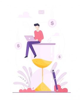 Un hombre feliz se sienta en un reloj de arena y trabaja en su negocio en una computadora portátil. el concepto de negocio, productividad y gestión del tiempo. ilustración en estilo plano de dibujos animados.