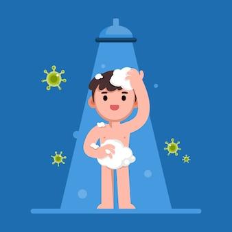 Hombre feliz tomando una ducha en el baño, protegido de virus, ilustración plana.