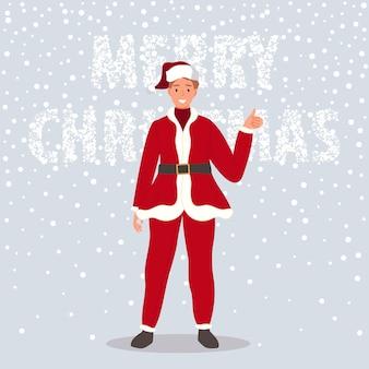 Hombre feliz vestido con ropa roja de santa claus sobre fondo de nieve concepto de feliz navidad