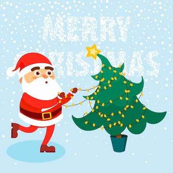Hombre feliz vestido con ropa de santa claus con árbol de navidad sobre fondo de nieve