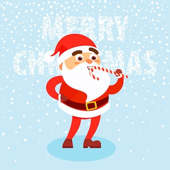 Hombre feliz vestido con ropa de santa claus con bastón de caramelo sobre fondo de nieve concepto feliz navidad