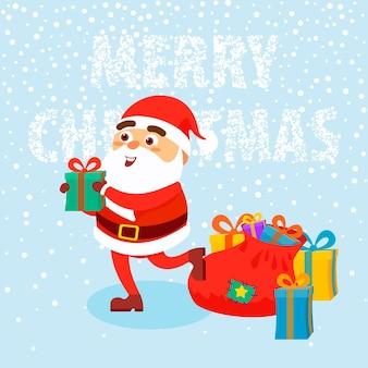 Hombre feliz vestido con ropa de santa claus con regalos sobre fondo de nieve concepto de feliz navidad