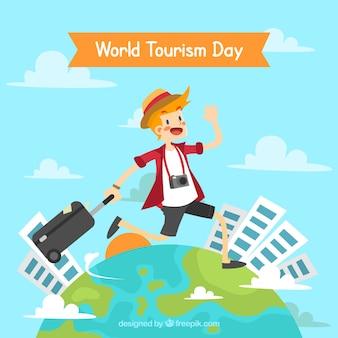 Hombre feliz viajando alrededor del  mundo, día mundial del turismo