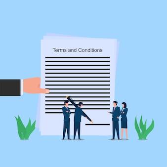 El hombre firma en términos y condiciones metáfora del acuerdo. ilustración de concepto de vector plano empresarial.