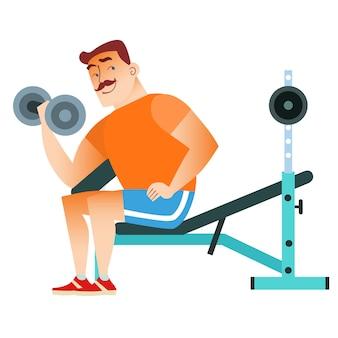 Hombre fitness musculación entrenamiento pesas