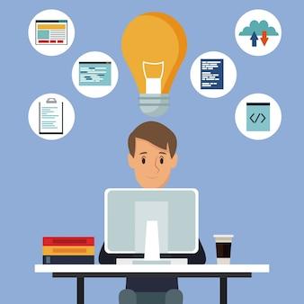 Hombre de fondo de color en el escritorio con la tecnología de la computadora y el lenguaje de programación de iconos y solución de bombilla