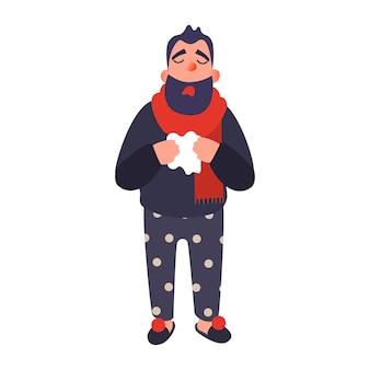 Hombre frío en una alfombra sostiene una taza joven enfermo